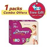 #9: Champs High Absorbent Premium Pant Style Diaper (Pack of 1)(Free 1-Pair Socks)| Premium Pant Diapers | Premium Diapers | Premium Baby Diapers | anti-rash and anti-bacterial diaper | … (Medium, 56)