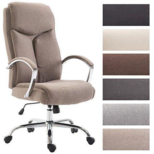Clp sedia ufficio vaud xl in tessuto - poltrona ergonomica girevole con alto schienale e braccioli i poltrona studio presidenziale con portata max 140 kg i sedia pc regolabile con 5 ruote tortora