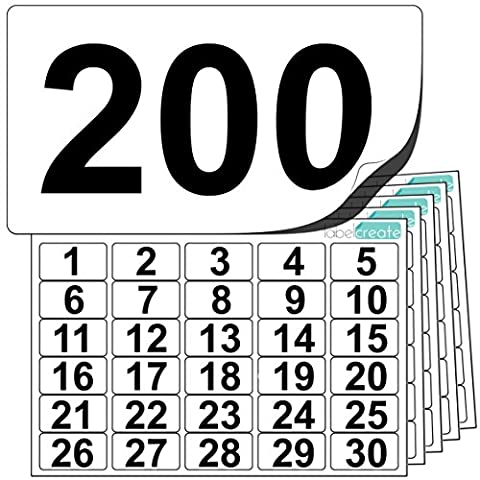 Premium Plastic Number Stickers 1 to 200 (+ 10 Blank Spares). Ultra Durable Label Stock. Suitable For Outdoor Use. 100% Waterproof. Free UK