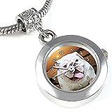 Timest - Englische Bulldogge Bead Uhr für Armbänder und Ketten Rund Analog Quarz EBA0153