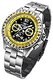 FIREFOX FIGHTER FFS05-108 schwarz/gelb Chronograph Herrenuhr Armbanduhr massiv Edelstahl Sicherheitsfaltschließe 10 ATM Prüfdruck