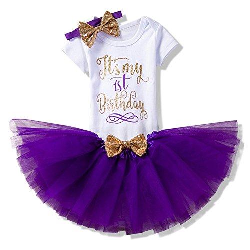Set 3 Baby Mädchen Kleidung Set Kleinkind Body Strampler Tütü Rock Geburtstag Outfits Glitzer Bowknot Stirnband (Mädchen-designer-kleidung)