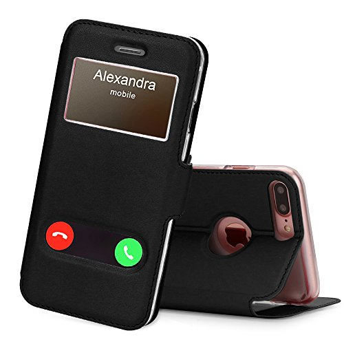 iPhone 7 Plus Fall, fyy Magnetverschluss Cover Ständer Case mit Window View Funktion für iPhone 7 Plus/8 Plus (14 cm), A-Black ()
