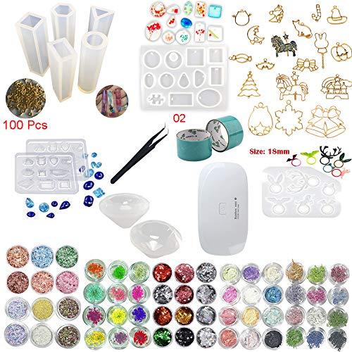 �cke Silikonform 100 Ringe, 17 Lünetten Metall Schmuck mit 2X 5 Meter Band, 1 Pinzette und Tragbare Mini UV LED Lampe Für Schmuck Ohrringe Halskette Armband Nail art ()