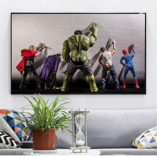 51pvPm7dMeL - Película Superhéroes en Aseo Cartel Nord Heros Niños Habitación Decoración Arte de la Pared Pintura de la Lona Cuadro 60x80cm Sin Marco