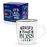 Gifffted Tasse Bester Boss der Welt, Lustig Kaffeebecher Für Bester Chef, Geburtstag Geschenk, Kaffeetasse 380 ml