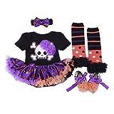 BabyPreg Vestido de Halloween de las niñas infantiles Calabaza 4PCS Headband Legging Calzado (M / 6-9 Meses, Esqueleto)