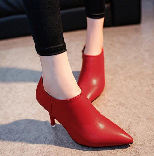 Da donna-Tacchi-Casual-Comoda-A stiletto-Pelle di maiale-Nero Rosso Grigio Red