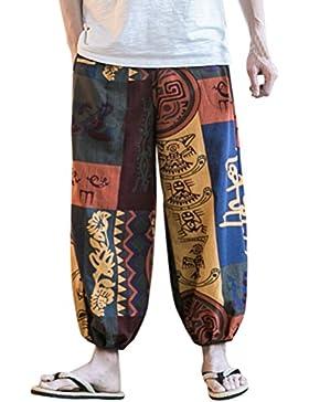Zhhlaixing Pantalón bombacho Harem Mujer Hombre Boho Pantalones Aladín Verano Yoga Deportivos pantalones Cintura...