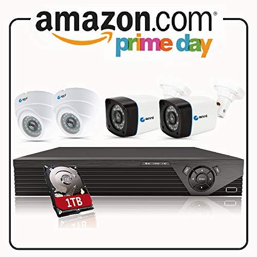Anni CCTV Kit di Videosorveglianza 4CH 1080P HD DVR Kit, con 4x 720p in/Outdoor telecamere, 25m visione notturna, All-Weather adattamento casa telecamere di sicurezza, con 1TB HDD di sorveglianza