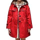 ARAUS-Mädchen Mantel Frühling Herbst Klassische Jacke Klein mädchen Lang Windjacke mit Kapuze Baumwolle Trenchcoat Rot 140