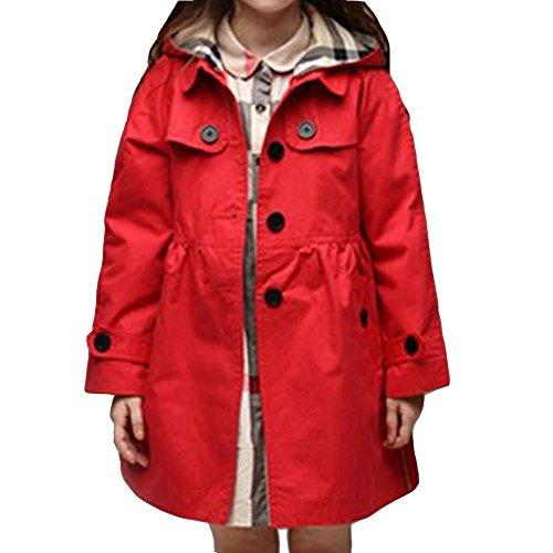 Plaid Jacke Mantel (ARAUS Mädchen Mantel Herbst Winter Klassische Jacke Klein mädchen Lang Windjacke mit Kapuze Baumwolle Trenchcoat 1-9 Alter)