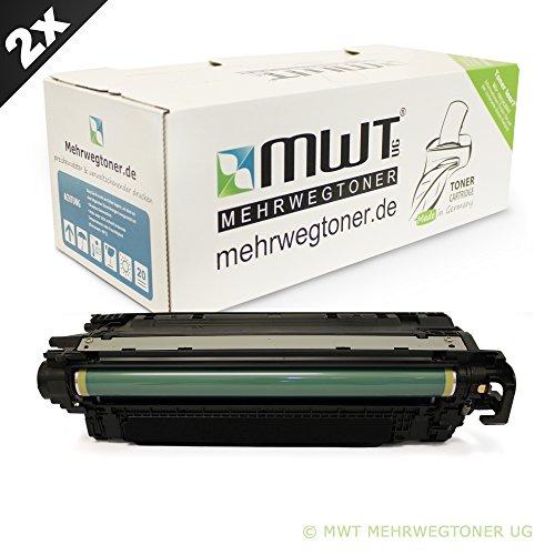 2x MWT Remanufactured Toner für HP LaserJet Enterprise color flow MFP M 575 wie CE400A 507A Black (Hp Ce400a Schwarz)