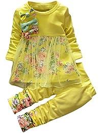 �� Bebe Invierno por 1-3 Años, �� Zolimx Recién Nacidos Niños Niñas Bebé Floral Bowknot Impresión Ropa Camiseta Tops Vestido Largo 2Pcs Trajes Conjuntos
