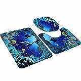 TXXCI 3 Stück Badematten teppiche WC-Deckelbezug Toilettendeckelbezug WC-Sitzbezüge WC Sitz Cover Mat-Unterwasserwelt