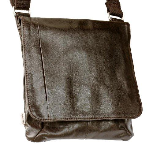 Jahn-Tasche - sac bandoulière / besace format portrait, modèle 428 avec poche pour Tablette, iPad - cuir véritable Marron