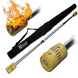 Flames N Games Pro FEUERSTAB Alu Classic (M) 120cm (Docht: 2x65mm) Medium Flammen! +Reisetasche! FeuerLangstab AKA Fire Staff Feuerartikel.