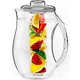 Vremi Fruit Infuser Water Pitcher - 2.5 litre Pichet en infusion de plastique avec couvercle pour le thé à laisse en vrac - Grand infuseur infusseur sans BPA avec bec verseur - clair