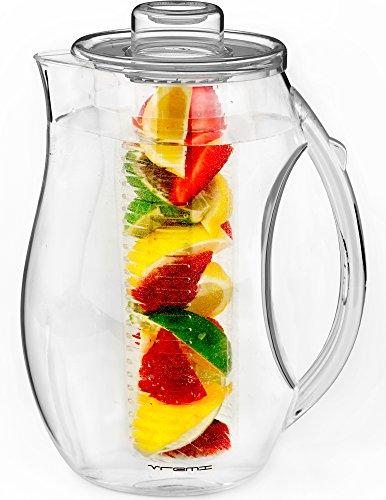 Vremi Frucht Infusion Wasserkanne - 2,5 Liter Plastik Infusion Kanne mit Deckel für Blatttee - Große BPA-freie Infusion Kanne mit Ausguss- 2,5 Liter Sangria Kanne Vodka Einsatz - Klar Glas Infusion Gläser