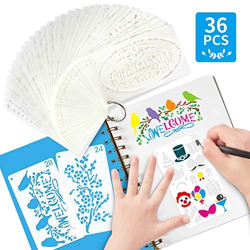 Tagebuch-Schablonen zum Basteln, wiederverwendbar, dekorative Alphabet-Schablonen- Scrapbooking-Zubehör, 36 Stück