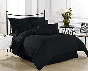 Luxus-schwarz gestreift, Fadenzahl 600 teiliges Set Euro Einzelbett 100% ägyptische Baumwolle, Extra tiefe Tasche -BC1 33,8 cm (15)
