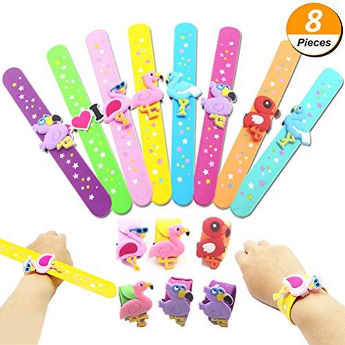 Poluka 8 Stück Flamingo Slap Armbänder Cartoon Tier Silikon Armbänder Neuheit Spielzeug Schule Preis Geschenk Kinder Kinder Geburtstag Party Geschenke (Süße Halloween Geschenke Für Lehrer)