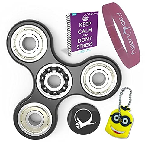 FabQuality Spin Anxiety AttentionToy Toy With BONUS eBook (email) + Minion Key Chain - Perfect For ADD, ADHD Relieves Stress, Autism And Anxiety And Relax for Children and Adults BONUS EBOOK is sent by