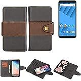 K-S-Trade Funda Teléfono Celular Estuche Cubierta Bookstyle para -Vernee M6- Parachoques Protección Integral Negro-marrón 1x