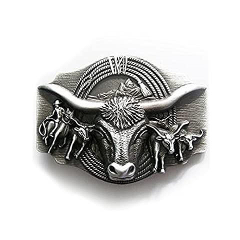 eeddoo Unisex Belt Buckle Bull and Cowboy with Longhorn Rodeo Texas