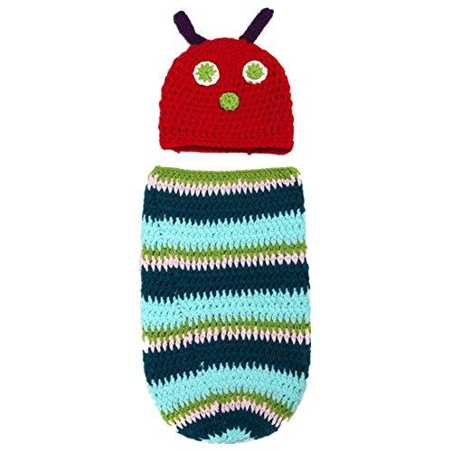 Fotografie Kleidung Kostüme für Kinder Kleinkind und Mädchen gestrickt hat Caterpillar/Dinosaur Shape (Caterpillar)
