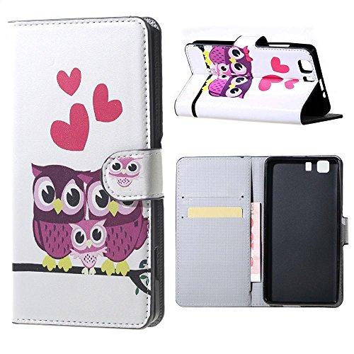 DETUOSI® Hülle für Doogee X5 ,PU Leder Etui Hülle im Bookstyle Handy Tasche für Doogee X5 / X5 Pro Schutzhülle Schale Flip Cover Wallet Case (Lila Eule)