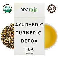 Ayurvedic Turmeric Detox Tea, 300 Gms | The Golden Tea | Clear Toxins | Healthy Bowel Movements | Detoxifying Morning Drink | Contains-USDA Certified Organic Green Tea,Turmeric,Brahmi,Dandelion,Burdock Rock |