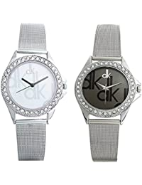 Rjcreation Dk Analog Black And Silver Dial Girl's And Women's Watch Combo - W-DK-Combo