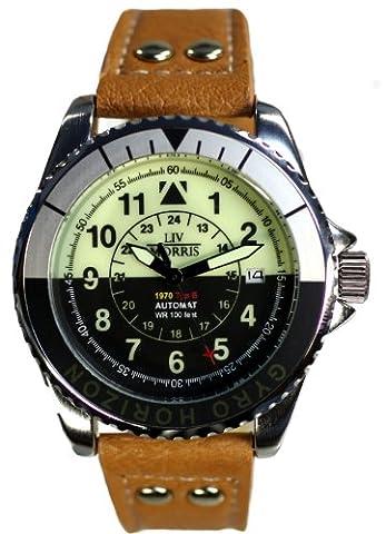 Liv Morris 1970Gyro Horizon 04Montre Homme Automatique Mécanique Bracelet En Cuir verglaster Base Inox