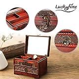 Schmuckkästchen, Luckyfine Kleine Vintage Schmuckschatulle Aufbewahrungsbox aus Holz, Make-up-Box mit Spiegel, geeignet für den persönlichen Gebrauch und Geschenke