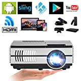 Mini LCD Beamer Android Multimedia LED Projektor Tragbar 1500 Lumen Heimkino Entertainment WiFi Bluetooth Projector unterstützt 1080P Full HD mit USB VGA Audio Lautsprecher Keystone Laptop TV DVD Xbox iPad iPhone