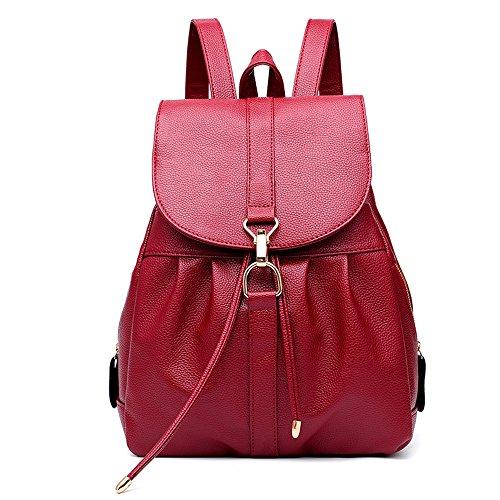 RFVBNM Rucksack Women es Bag Damen Tasche Freizeit wasserdicht PU Leder schwarz Rucksack Lady Bag Mädchen Tasche Reiserucksack Studenten Rucksack Camping-und Einkaufstasche, Wine Red Rotwein Rot