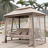 Rocking chair Fauteuil à Bascule Health UK - Chaise balançoire d'extérieur étanche - Mosquito Garden - Pelote de Fil + Coussin de Dossier + Oreiller