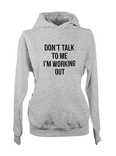Don't Talk To Me I'm Working Out Gym Concentrated Sports Femme Capuche Sweatshirt Gris