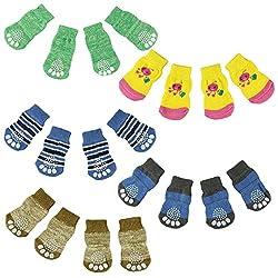 Transer® 4Pcs Cute Puppy Dogs Socks Pets Knit Anti Slip Socks with Non Skid Bottom