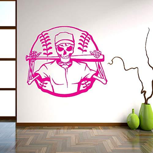 Dekorative aufkleber persönlichkeit schädel skelett baseball ball sport aufkleber wandbild wandaufkleber für schlafzimmer h 57 * 65 cm