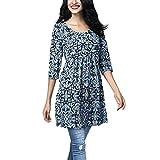 SEWORLD 2018 Damen Mode Sommer Herbst Elegant Tägliche Drei Viertel Ärmel Drucken Beiläufige Tops T-Shirt Lose Top Bluse(Blau,EU-48/CN-5XL)