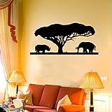 Indigos WG10550-70 Wandtattoo w550 Afrika/Steppe Nashorn mit Löwe 80 x 37 cm, Schwarz