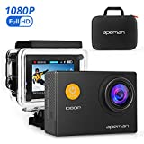 immagine prodotto APEMAN A60 Action Camera Sport Full HD 1080P 12MP 170 °Grandangolare+ Kit Accessori con Custodia Impermeabile e Valigetta Portatile. Ideale per Ciclismo, Nuoto e altri Sport. (Colore Nero)