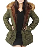 4How Winter Faux Fur Jacket Parka Coat Women Olive green UK Size 10