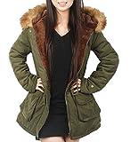 4How Damen Winterantel women Parka coat mit Pelzkapuze, Armee Grün neu, DE 40 (Etikett: US 8)