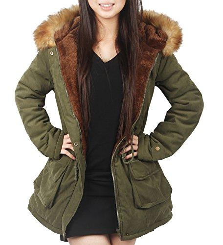 4How Damen Winterantel women Parka coat mit Pelzkapuze, Armee Grün neu, DE 40 (Etikett: US 8) Winter Parka