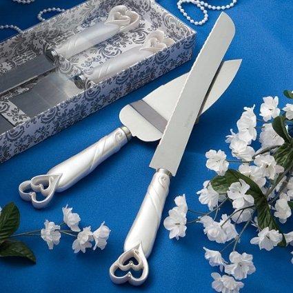 FASHIONCRAFT Coeurs Interlocking Design gâteau Couteau & Serveur Set Mariage