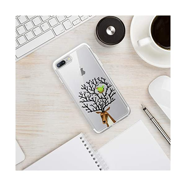 Oihxse Compatible with iPhone 6+/8+ 5.5'' Case Cover Crystal Clear Ultra Slim Lightweight Soft TPU Gel Bumper, Chic Fashion Pattern Design Transparent [Original Beauty] Shockproof Skin, Magpie Elk Oihxse ✨【SLIM FIT】ONLY compatible with iPhone 7+/8+Plus without bubbles, bubbles smudges, slippy and clinging, which provide a great hand feel & comfortable grip, easy put in and take off from pockets. ✨【CRYSTAL CLEAR】Cute and stylish pattern prints on the crystal transparent slim IPhone 7+/8+Plus case, not only shows off the original beauty but adds more chic, fashion and elegant sense, makes you stand out from crowd and eye-catching. ✨【PREMIUM MATERIAL】Made from nontoxic and tasteless flexible TPU material, non fade and peel off. It can resist Iphone 7+/8+Plus bumps, drops, scratches, impacts, shocks and fingerprint. 3