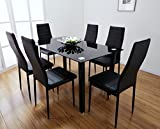 Black & White Glass Dining Table Set with 6 Faux Leather Chairs Brand New (Black)